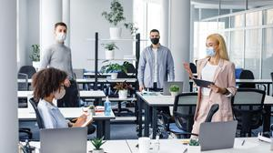Social-distancing guidelines mean a desk layout of about 50pc of normal occupancy in many offices