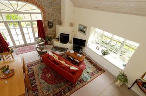 Looking down on to the Caherass living room