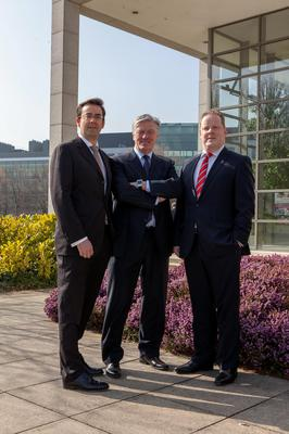 NO FEE FOR REPRO. 19/03/2015. Pictured at the Tomorrows World for Commercial Real Estate Advisors Conference, held today in the O'Reilly Hall, UCD, were, from left, Jim Clery, Partner, KPMG, Master of Ceremonies Pat Kenny, Broadcaster and Diarmuid Moore, P