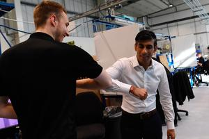 Recession: Chancellor Rishi Sunak bumps elbows with Scottish worker