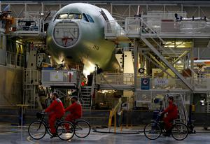 Airbus A330 on the assembly line as the European plane-maker outstrips Boeing. Photo: REUTERS/Regis Duvignau