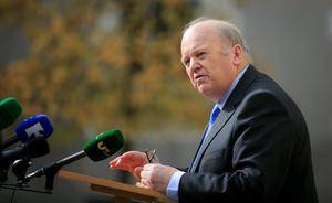 Finance Minister Michael Noonan during a press briefing at Government Buildings, Dublin