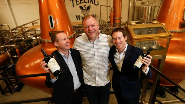 Pictured are brothers Jack and Stephen Teeling with Alex Chasko, Master Blender at the official opening of the new Teeling Whiskey Distillery and visitor centre in The Liberties, Dublin 8.