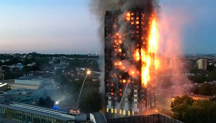 The fire at Grenfell in June 2017 that killed 72 people. Photo: Natalie Oxford/AFP