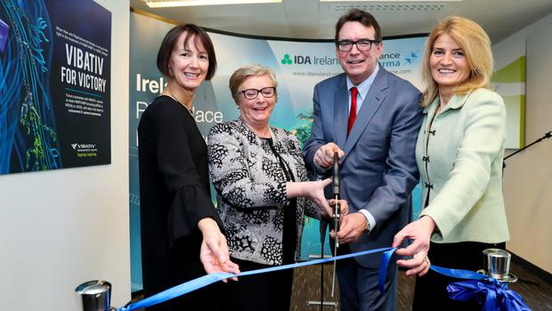 Ann Brady with then tánaiste Frances Fitzgerald, Theravance CEO Rick E Winningham and IDA executive director Mary Buckley in 2017