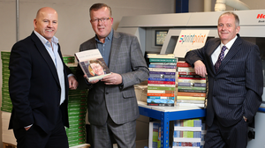 Sean Gallagher with Gerry Kelly and David O'Neill of Sprintprint. Photo: Steve Humphreys