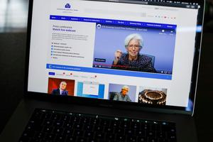 Under pressure: Christine Lagarde, president of the European Central Bank during a live stream news conference. Photo: Bloomberg
