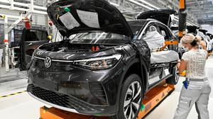 Auto future: The production line for the electric Volkswagen model ID4 in Zwickau, Germany. Photo: REUTERS/Matthias Rietschel