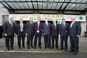 Eight former Presidents of the IFA (from left): Donal Cashman, Tom Clinton, Paddy Lane, Tom Parlon, John Dillon, John Donnelly, Joe Rea and Alan Gillis pictured at the association's 50th anniversary celebration sin the RDS in 2005. Photo: Tom Burke