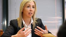 Data Protection Commissioner Helen Dixon pictured speaking to the Irish Independent's  Adrian Weckler at her offices in Dublin. 23/4/15 Pic Frank Mc Grath