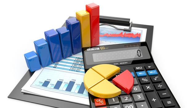 Business analytics. Calculator, financial reports and graphics.