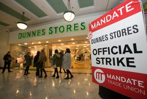 Staff during a Nationwide strike organised by MANDATE  in a dispute over low-hour contracts, job and income security and the right to trade union representation at Stephens Green Shopping Centre, Dublin.
