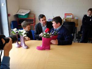 Tremendous fun': Jonathan Healy interviewing national school pupils during his time with Newstalk, where he worked for 11 years