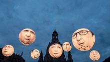 Balloons made by the 'ONE' campaigning organisation depicting leaders of the G7 are pictured in Germany ahead of the summit