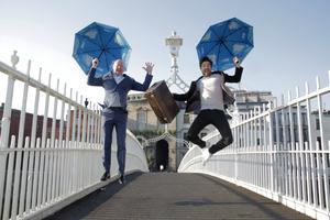 Giant leap: Ciaran Mulligan and Craig Doyle celebrate the launch