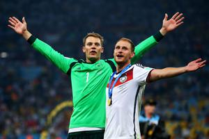 Germany v Argentina: 2014 FIFA World Cup Brazil Final...RIO DE JANEIRO, BRAZIL - JULY 13:  Manuel Neuer and Benedikt Hoewedes of Germany celebrate after defeating Argentina 1-0 in extra time during the 2014 FIFA World Cup Brazil Final match between Germany and Argentina at Maracana on July 13, 2014 in Rio de Janeiro, Brazil.  (Photo by Julian Finney/Getty Images)...S