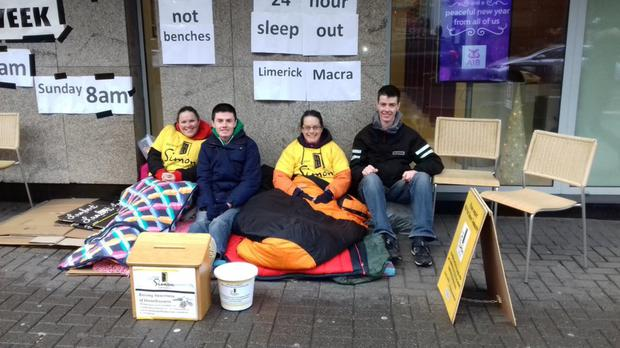 Limerick Macra members during the Sleep out for Simon