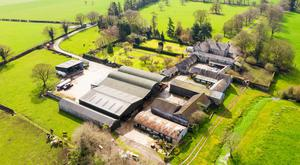 The extensive farming facilities on the property