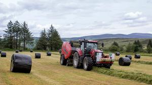 Flat out: Contractor Alan McGrath baling silage near Kilworth in Cork last week. Photo: Alf Harvey