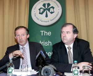 Michael Berkery (right) pictured with IFA President Tom Parlon in 2001.  The long-serving IFA general secretary helped lead the Association through the tense beef blockade of January 2000 which stopped all cattle slaughtering for several weeks.