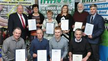 Certified quality: Gold and Diamond award winners after receiving their certificates, Leo Collins,  Robert Shannon,  Cathal Mulhall, Andrew Butler, Martin Keane, Chairman, Glanbia, Shirley Shannon, Kathleen O'Connor, FBD Insurance (sponsor) Joe Doran, and Peter Ging