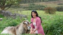 Isabella Rowatt pictured with one of her billy goats on Bellaville Farm in Gortahork, Co Donegal PHOTO: Clive Wasson