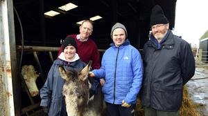 George Kelly with Amy O'Dea, Rathmore, Martin Sheehan, Castlemaine and Gerry Smith, John of God Centre pictured at Beaufort Killarney as part of the Kerry Social Farming project. Photo: Don MacMonagle
