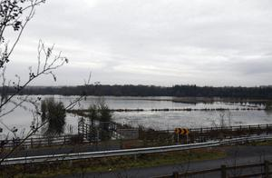 Flooded land around the Shannon river as far as the eye can see near Athlone, Co. Westmeath.