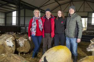 Family affair: John Earle with his wife Margaret, son Edward and daughter Gillian on their sheep farm in Ballycanew, Gorey, Co Wexford. Picture: Patrick Browne