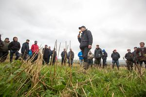 Tom Dunne speaking about Combicrop where it has been harvested 1st September on Dunne's farm at Ballinaslee, Durrow, Co. Laois during a Teagasc Organic Farm Walk. Picture: Alf Harvey.