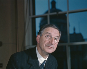 Vision: Eamon de Valera in 1947, four years after his famous speech that envisioned an Ireland whose prosperity was driven by an industrious and youthful rural population. Getty Images