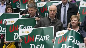 Farmers protest: IFA members protesting outside the Department of Health last April over flaws in the Fair Deal nursing care costs scheme. Photo: INM