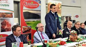 Peter McMahon, head of marketing, Ashbourne Meats; Danny Houlihan, director, Ashbourne Meats; IFA president, Joe Healy; Angus Woods, IFA livestock chairman; Kevin Kinsella, IFA and Paul Sykes, secretary, Irish Limousin Society at the Limousin Society event in Ashbourne Meats, Roscrea.