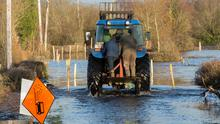 Ferrying neighbours through the floods at Mukanagh, Athlone in 2015. Picture: Fergal Phillips