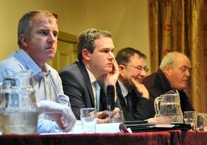 Food for thought: Brendan Joyce, chairman of Hill Farmers for Action, TDs Sean Kyne and Eamon O'Cuiv, and John Moran at the meeting in Maam Cross.