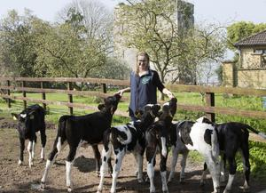 Louise Crowley feeding calves on the family farm in Tullovin, Croom, Co Limerick. Photo: Liam Burke/Press 22