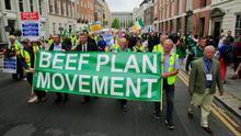 Tipping point: Farmers protesting outside Leinster House last July against the EU-Mercosur trade deal which increases the amount of beef imports allowed into Europe from Brazil and Argentina. The protest was the first big show of strength by the Beef Plan Movement and sparked the nationwide campaign for better beef prices. Photo: Gareth Chaney