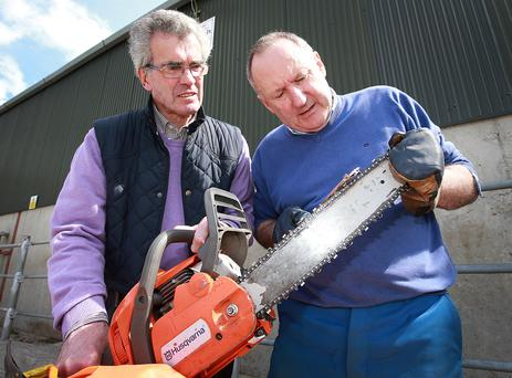 Teagasc's Tom Ryan (right) pictured with Eamon Hogan at the Teagasc Farm Safety Open Day.