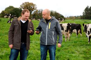 Apply now: Tommie Slattery and Ryan Garner of Kerry-based app developer Smartfarmsapps.com compare notes.