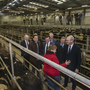 Taoiseach Leo Varadkar and Tanaiste Simon Coveney visit the Mart in Fermoy Co. Cork to to set out their agricultural policy. Local farmer Mary Twomey-Casey from Glanworth, Co. Cork meets the Taoiseach, Tanaiste, Minister for Agricullture Michael Creed and local candidate Pa O'Driscoll.Photo: Douglas O'Connor.