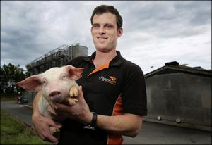 Progress: Jonathan Marry on his pig farmer in Collon, Co Meath