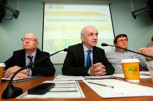 IFA President Eddie Downey, flanked by IFA General Secretary Pat Smith and Deputy President Tim O'Leary, chairs an IFA EGM on the beef crisis. Picture:  Finbarr O'Rourke.