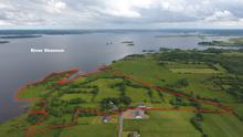 Waterfront: The 45ac farm is located at Kilmore, Lecarrow, Co Roscommon. It is located 7kms from Athlone and the sale includes dwellings including a modern bungalow and the ruins of an old castle.