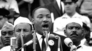 Broken dreams: Martin Luther King delivering his 'I have a dream...' speech in Washington D.C. in August 1963. Fifty seven years later, 7pc to 8pc of young black men in the US are imprisoned and blacks are 20pc more likely to be unemployed than whites