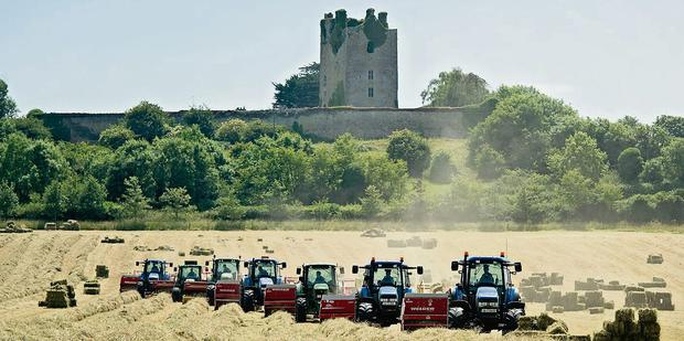 Coolmore's Hay-day: Farm contractors Thomas and John Cooney had seven balers operating in the one field at Knockelly Castle, Fethard, Co Tipperary last week as they worked through 900ac of hay for Coolmore Stud