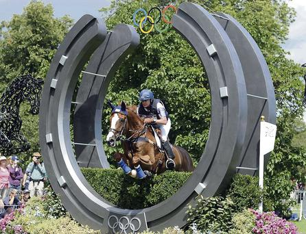 OFFSPRING: Karen O'Connor and Mr Medicott jump the crosscountry fence at the London Olympics last year