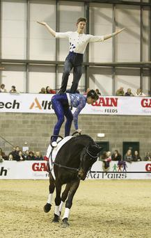 TOP PERFORMANCES: Vaulters Andrew McLaughlan and Rebecca Norval thrill the crowds at Equus Live 2013