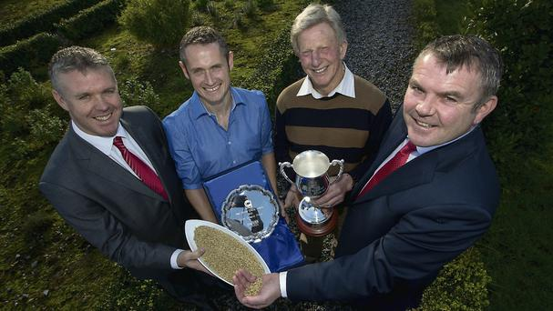 Goldcrop honoured its top quality seed growers at a special inaugural awards ceremony in Kilkenny today. Cork farmer Jim Tait, Whitegate, East Cork, was presented with the inaugural Overall Quality Seed Grower Award by Goldcrop Managing Director, John Murphy. Pictured at the event at the Lyrath Estate Hotel in Kilkenny was from left Donal Fitzgerald, Goldcrop; David and Jim Tait.