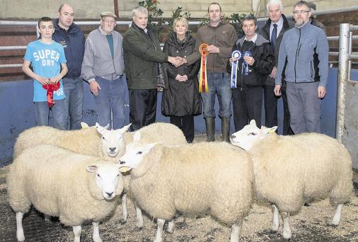 Champions: Winners at the recent Raphoe Mart Fatstock show and Sale were: (from left) Sam Wilson, 1st in the Suffolk Group and Pairs; Paul McGlynn, Kiernan Milling; Tom Baldrick, 3rd pen of 5;Alan Lecky, judge; Anne Harkin, mart manger; Marcus Maxwell, show champions; Peter Gallinagh, reserve champion; Robert Brownleigh, Natural Nutrition; and Nigel Gibson, Inishleigh Co-Op Clive Wasson