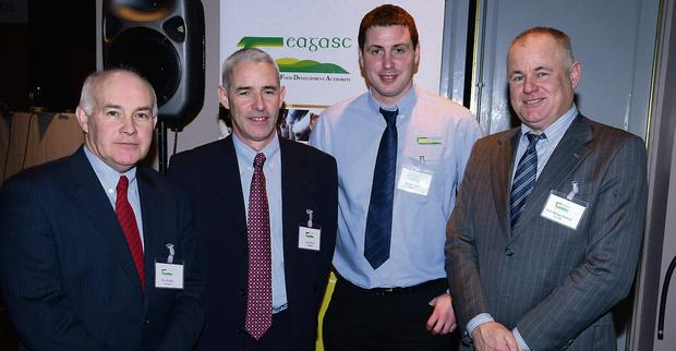 Pictured at the national hill sheep farmers conference at the West Lodge Hotel, Bantry, Co Cork was Billy Kelleher, Cork South regional manager Teagasc, with speakers Frank Heinz and Ciaran Lynch of Teagasc and Michael O'Doherty of UCD